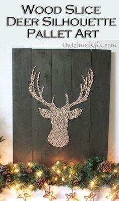 Wood Slice Deer Head Silhouette Pallet Art via TheKimSixFix.com