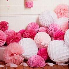 6pcs 20cm+25cm Honeycomb Flowers Paper Balls Wedding Decoration Festival Decoration Paper Supplies Birthday Baby Shower Party #Affiliate
