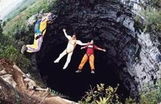 Base jumping in the cave of swallows. San Luis Potosi, Mexico