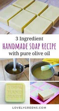 Recipe and instructions for making natural Castile soap with the simplest of ingredients. Also includes tips on how to harden it up and cure olive oil soap faster lovelygreens soapmaking soaprecipe castilesoap 39265827987601568 Handmade Soap Recipes, Soap Making Recipes, Handmade Soaps, Diy Soaps, Making Bar Soap, Making Soap Without Lye, Bath Recipes, Soap Making Supplies, Pure Olive Oil