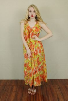 Vtg 70s Floral Hippie Festival Draped Party Halter Maxi Boho Dress OS | eBay