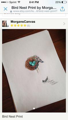 Cute bird nest tattoo idea