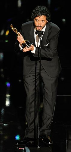 "Bret McKenzie accepts the Oscar for best original song for ""Man or Muppet"" from ""The Muppets"" at the 2012 Academy Awards. #Oscar"