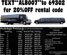 """20%off limos-buses-sedan text """"ALB007"""" to 69302 for promo code enter it into quick quote at http://averylimobroker.com  best pricing in san diego LA OC SF"""
