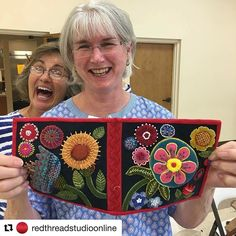 #Repost @redthreadstudioonline Shay K. repurposed her flower and vase project into a needle case. I don't know which I love more...her gorgeous stitching, her infectious smile or her dear friend photo bombing her! Great work @quiltershayck ! #suespargo #suespargoworkshop