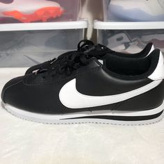 a65f7426165 Nike Shoes | Nike Cortes Leather Classic Black White | Color: Black/White |  Size: 9.5