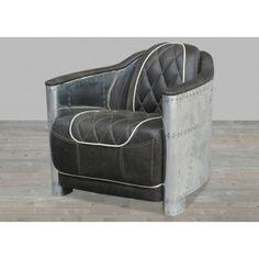 Black Leather Armchair with Areo-Aluminum #SilverCoastCompany