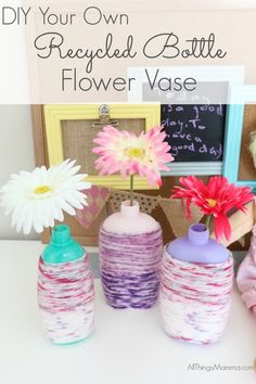 """What better way to introduce recycling and """"upcycling"""" to kids than to do some fun craft projects like this EASY DIY Recycled Bottle Flower Vase Craft? Diy And Crafts Sewing, Cool Diy Projects, Recycled Crafts, Crafts For Teens, Diy Crafts For Kids, Fun Crafts, Craft Kids, Craft Projects, Amazing Crafts"""