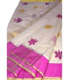 Off White Handloom Chanderi Silk Saree Chanderi Silk Saree, Silk Cotton Sarees, Lehenga Online, Buy Sarees Online, Saree Dress, Saree Blouse, Pink Lotus, White Lotus, White Saree