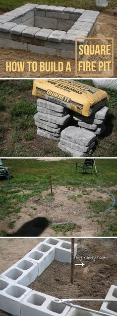 DIY Project: Square Concrete and Stone Fire Pit