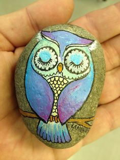 Owl Painted Rock by artist Daniel Langhans