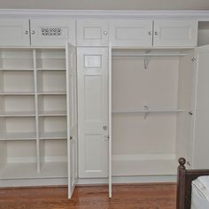 Classy Handmade Oak Built In Wardrobe Closet Unstained With 8 Door Cabinet  Also Hidden Drawer Storage As Well As