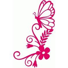 Silhouette Design Store - View Design #62124: butterfly flourish bouquet