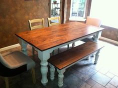 HandCrafted Farmhouse Tables by JNWoodworking on Etsy, $525.00   so nice....