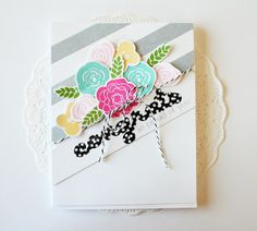 Wonderful Words: Congrats stamps by Papertrey Ink. The stripes are stamped with Background Basics: Super Stripes, flowers are Bigger Blooms.