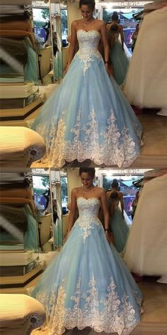 Luxury Light Blue Prom Dress,White Appliques Evening Dress,Beading Ball Gown · FlyinDance · Online Store Powered by Storenvy Prom Dresses Blue, Pretty Dresses, Evening Dresses, Bridal Skirts, Bridal Gowns, Wedding Dress Trends, Wedding Dresses, Types Of Gowns, Traditional Gowns