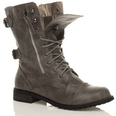 Womens Combat Style Army Worker Military Ankle Boots Flat Punk ...