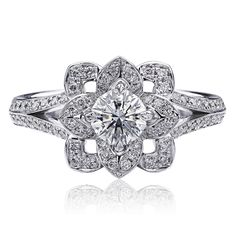 White Gold Ring By Christopher Designs Features A Center Criss Cut Round Diamond Carats, I And 84 Accent Diamonds Carats). Diamond Flower, Diamond Rings, Diamond Engagement Rings, Christopher Designs, Jewelry Rings, Fine Jewelry, Jewellery, Dream Ring, White Gold Rings