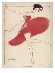 Anna Pavlova Russian Ballet Dancer: a Satirical View in a Danish Magazine Giclee Print at AllPosters.com