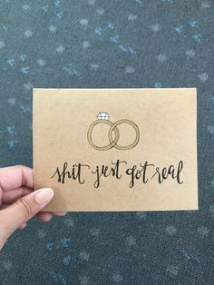 """Shit just got real"" #wedding #card"