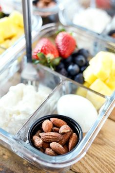 This DIY Breakfast Protein Snack Box is so easy to put together and perfect for grab and go or taking to work. These are some of my favorite breakfast foods. Fresh colorful fruit, a hardboiled egg, cottage cheese and roasted almonds for a little crunch. Some mornings are so hectic, it's a lifesaver to have breakfast prepped and ready to go! #breakfast #breakfastrecipes #mealprep #mealplanning #lunch #healthyrecipes #healthyeating #healthysnacks #healthy