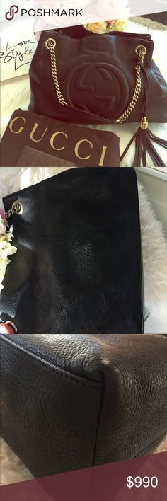 Gucci Soho Double Chain Shoulder Bag Black Gucci Soho shoulder bag. Gold-tone hardware. Comes with dust bag and Gucci card. This bag has been worn and used which explains the low price. The leather does have wear and some scuffs to the exterior (see pics). The interior is excellent and very clean. No marks of stains at interior fabric. The corners show no sign of wear. Only marks are the scuffing and marks to exterior leather.  There is wear on the leather handles as well ( see pic). Gucci…