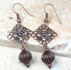 Boho Earrings  antique copper metal filigree by MySoulCanDance on Etsy