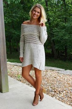 OTS Knit Dress - Taupe >> www.anchorabella.com New Arrivals Daily! Fast, Free Shipping!