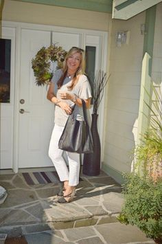 grey T and purse from Stichfix
