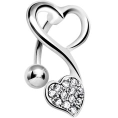 Product Details Give your belly some extra love with this sweet top drop belly piercing. Heart navel ring with sparkling gems. Curved barbell top mount belly button ring. Specifications 14 Gauge (1.6m