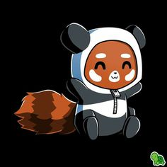 I'm finally a panda! Get the I'm a Panda! t-shirt only at TeeTurtle! Red Panda Cartoon, Red Panda Cute, Panda Love, Cute Cartoon, Cute Animal Drawings, Kawaii Drawings, Cute Drawings, Panda Illustration, Panda Funny