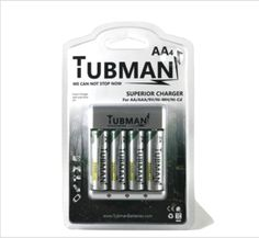 4 AA Tubman Batteries with Charger
