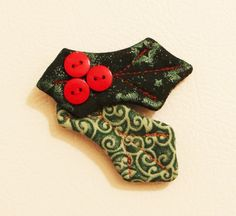 Holly Leaves Fabric Magnets by KjgBoutique on Etsy