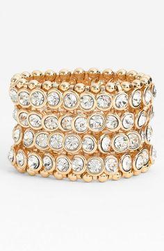Tasha Bezel Set Crystal Stretch Bracelet Gold Clear One Bangle | Jewelry and Accessory