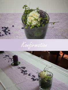 """Tischdekoration für eine Konfirmation in Lila.  Made by """"Blumenstängel by Susanne Mangold"""""""