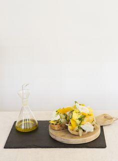 The perfect light lunch: bruschetta with shaved courgette (zucchini), fennel, orange and buffalo mozzarella