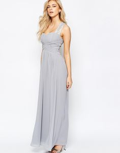 Little Mistress Ruched Bodice Maxi Dress With Lace Sleeves