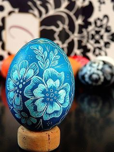 Hand Scratched Egg Unique Carved Present Floral Turquoise Lithuanian