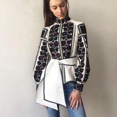 21 Folk Fashion, Ethnic Fashion, Denim Fashion, Hijab Fashion, Fashion Dresses, Womens Fashion, Ethno Style, Traditional Fashion, Ukraine