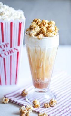 Hosting a movie night? This recipe for a Cracker Jack, Caramel-Popcorn Milkshake is the perfect dessert to serve!