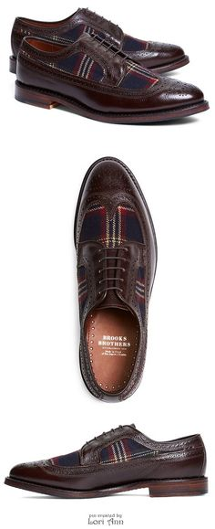 Brooks Brothers Leather and Wool Brogues with Signature Tartan