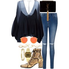 A fashion look from May 2015 featuring Chloé blouses, Yves Saint Laurent ankle booties and Yves Saint Laurent shoulder bags. Browse and shop related looks.