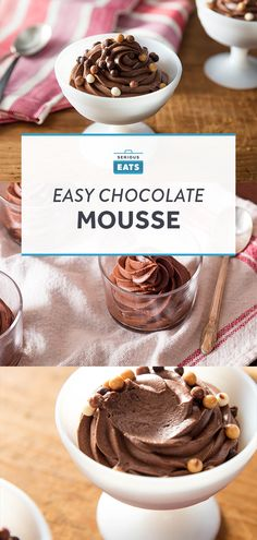 Eggless Chocolate Mousse Recipe (with homemade sweetened condensed milk) from Serious Eats Eggless Chocolate Mousse Recipe, Chocolate Mouse Recipe, Easy Chocolate Mousse, Chocolate Bread Pudding, Chocolate Mousse Cake, Homemade Chocolate, Chocolate Recipes, Pudding Cake, Chocolate Chocolate