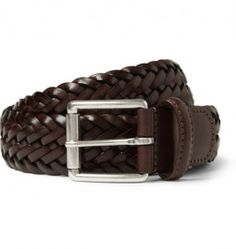 Andersons Brown 3.5cm Burnished Woven-leather Belt