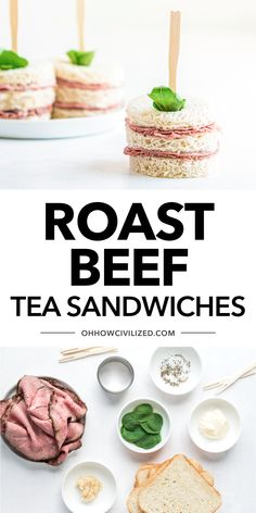 These roast beef tea sandwiches from Oh, How Civilized are so good. You can easily make this savory tea party treat with just a few simple ingredients. Grab this easy finger sandwich recipe and try these adorable bite-sized sandwiches at your next tea time or holiday party. #teatime #teapartyfood #afternoontea #appetizers #teasandwich Roast Beef Tea Sandwiches, Easy Finger Sandwiches, Best Roast Beef, Sliced Roast Beef, Good Roasts, Tea Ideas, Sandwich Recipes, Tea Recipes, High Tea