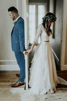 Böhmischen boho zwei Stücke Land Brautkleid mit V-Ausschnitt bauchfreies Oberteil - Hochzeit - #bauchfreies #Böhmischen #Boho #Brautkleid #Hochzeit #Land #mit #Oberteil #Stücke #VAusschnitt #zwei