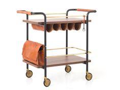 Carrito de madera de estilo moderno para bebidas VALET BAR CART Colección Valet by STELLAR WORKS diseño David Rockwell