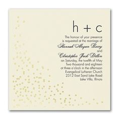 Confetti Toss Wedding Invitation - Ecru 40% Off | 3 COLORS AVAILABLE | http://mediaplus.carlsoncraft.com/Wedding/Wedding-Invitations/3283-LL36007EC-Confetti-Toss--Invitation--Ecru.pro | Carlson Craft Wedding Invitation LL36007EC Time to celebrate! Set the tone for a beautiful, festive day with this ecru, foil confetti design wedding invitation. Choose the options that show your style.