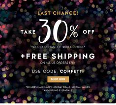 Save 30% off your purchase of $100 or more