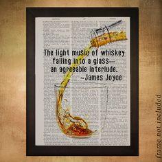 Whiskey Dictionary Art Print Bourbon Art Decor Scotch James Joyce Quote Bar Art Home Decor Drink Gift Ideas da602